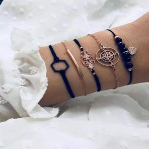 Round Stone Tassel Bracelet set 🖤